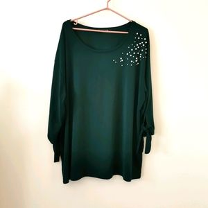 Dex 3X green 3/4 sleeve top with pearls